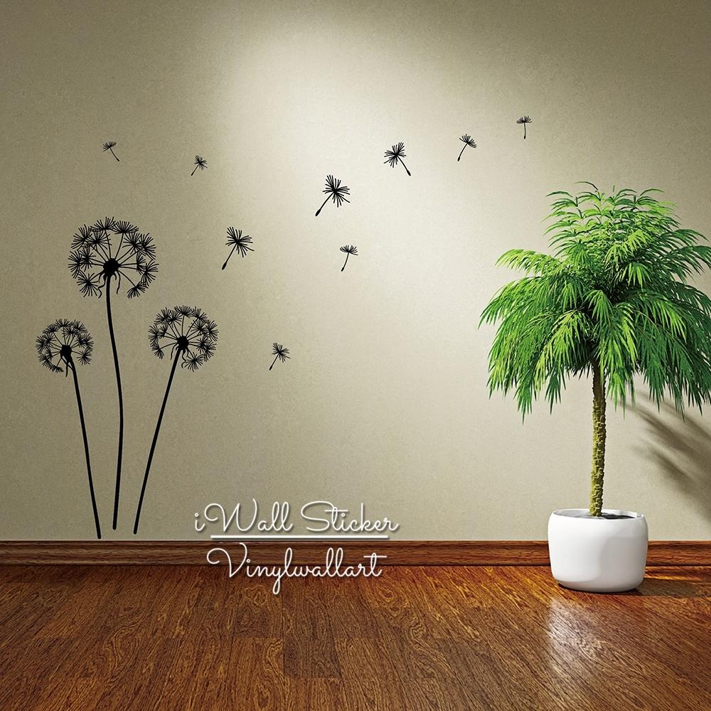 Dandelion Wall Sticker Dandelion Flower Wall Decal Diy Dandelion throughout Best and Newest Dandelion Wall Art
