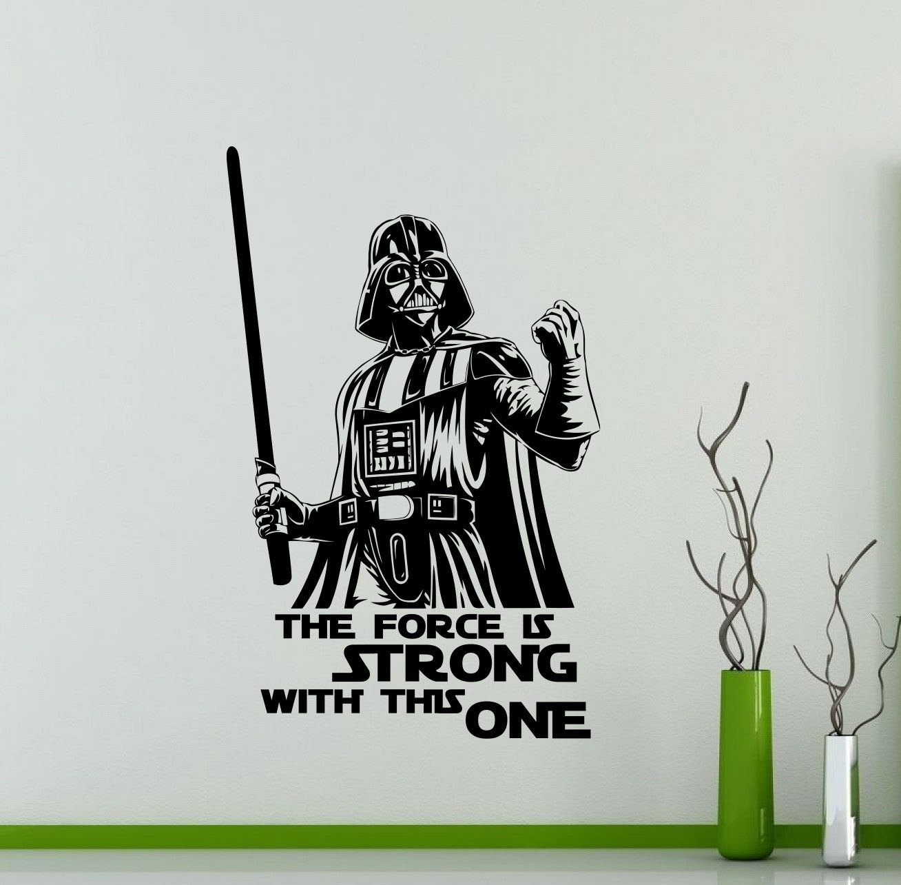 Darth Vader Wall Decal Star Wars Quote Vinyl Sticker The Force With Regard To Latest Darth Vader Wall Art (View 7 of 20)
