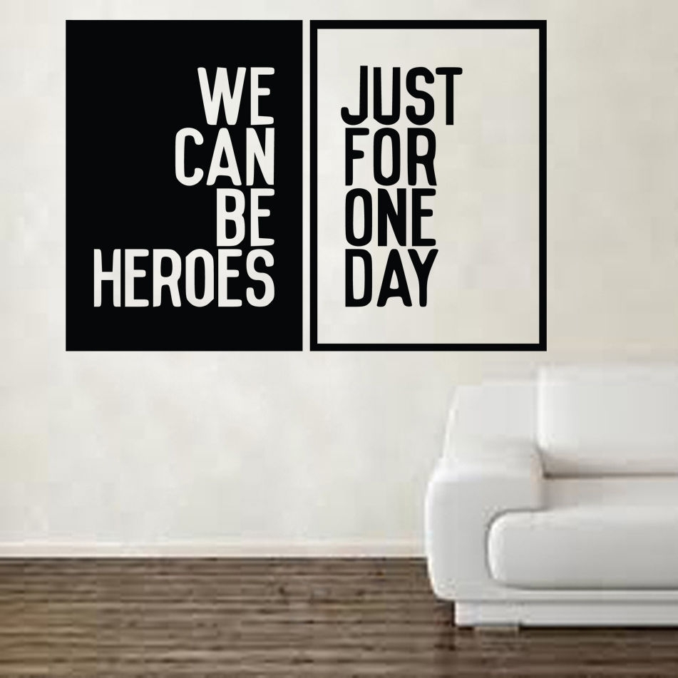 David Bowie Heroes Song Music Lyrics Wall Sticker Art Free Shipping With Most Current Song Lyric Wall Art (View 6 of 20)