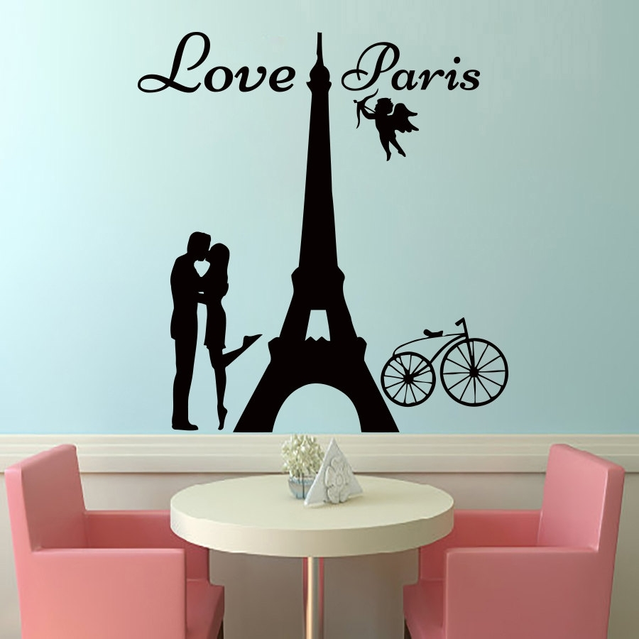 Dctop Angels Love Paris Wall Decals Lover Kissing And Bike Removable for Latest Paris Wall Art