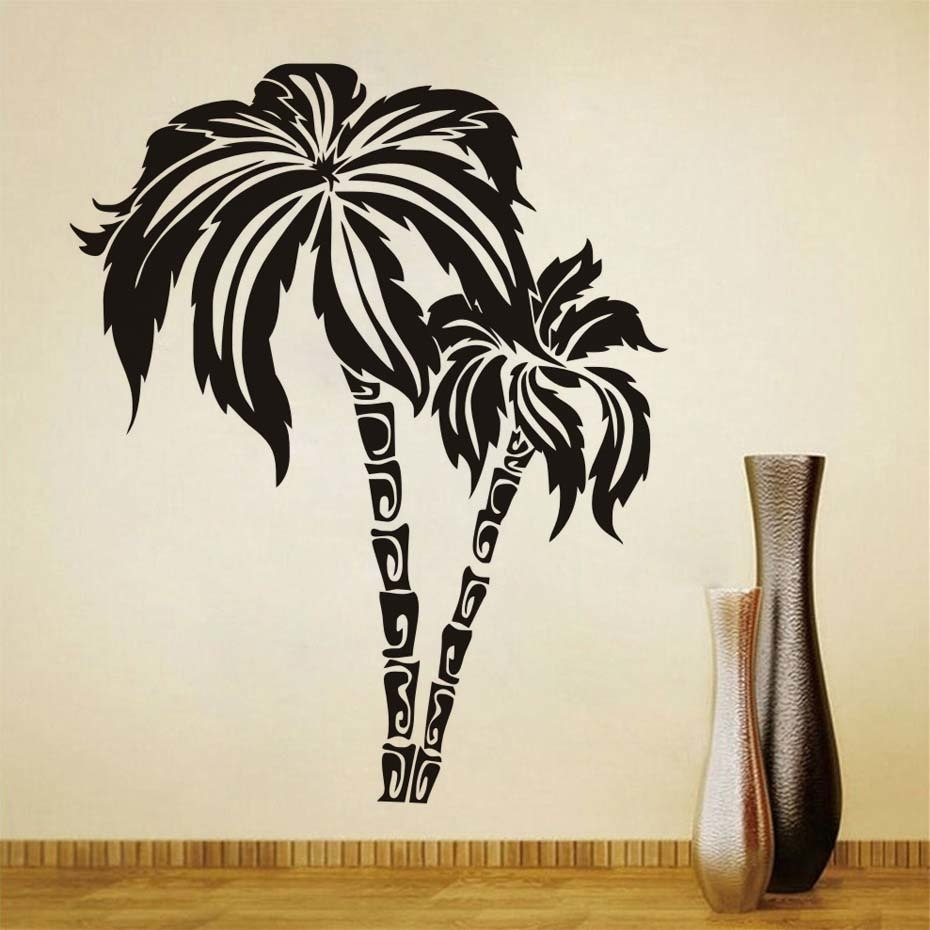 Dctop Green Palm Tree Wall Stickers For Living Room Waterproof Wall With Regard To Best And Newest Palm Tree Wall Art (View 8 of 20)