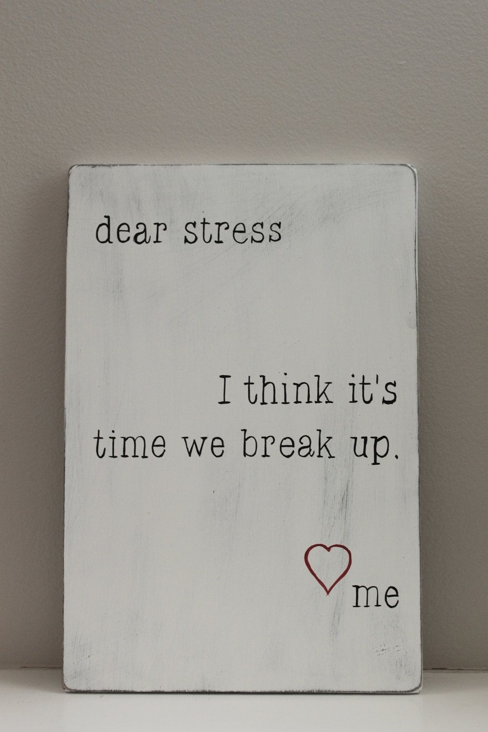 Dear Stress Letter, Wood Wall Art, Sign, Wood Signs, Quote On Wood With Regard To 2018 Wood Wall Art Quotes (View 5 of 20)