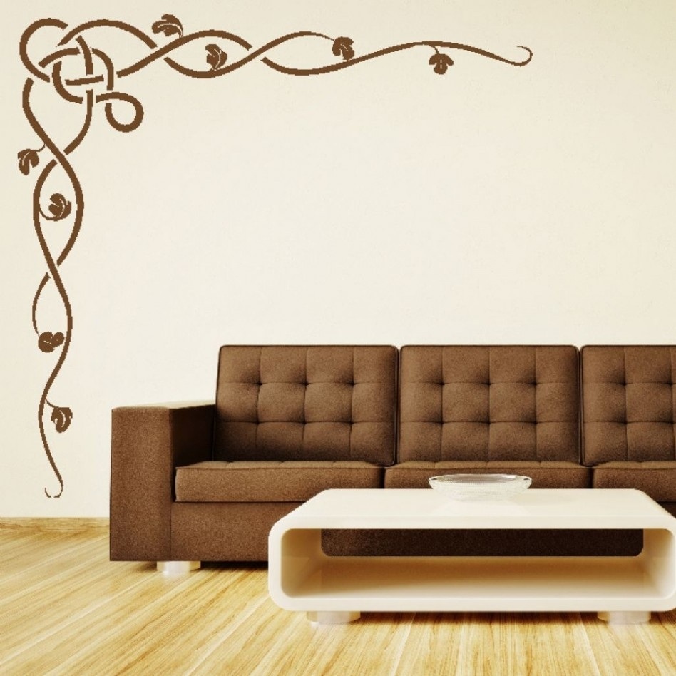Decoration Ideas: Casual Living Room Decoration Using Brown Stencil For Most Up To Date Stencil Wall Art (View 6 of 20)