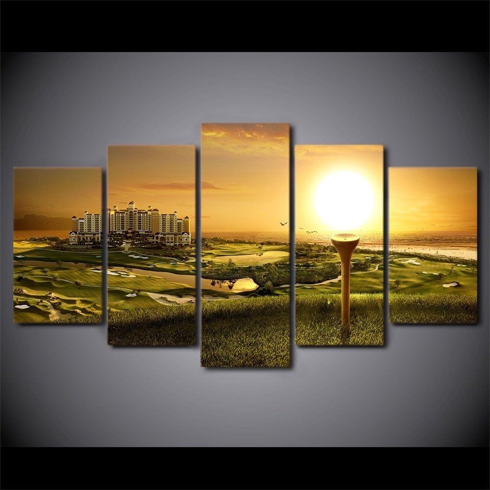 Decorative Pictures Canvas Painting Wall Art 5 Panel Golf Course Within Most Popular Golf Canvas Wall Art (View 8 of 20)