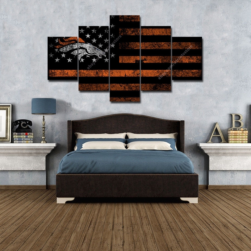 Denver Broncos American Flag Wall Art Canvas Vintage Football Retro Throughout Most Recently Released Broncos Wall Art (Gallery 14 of 20)