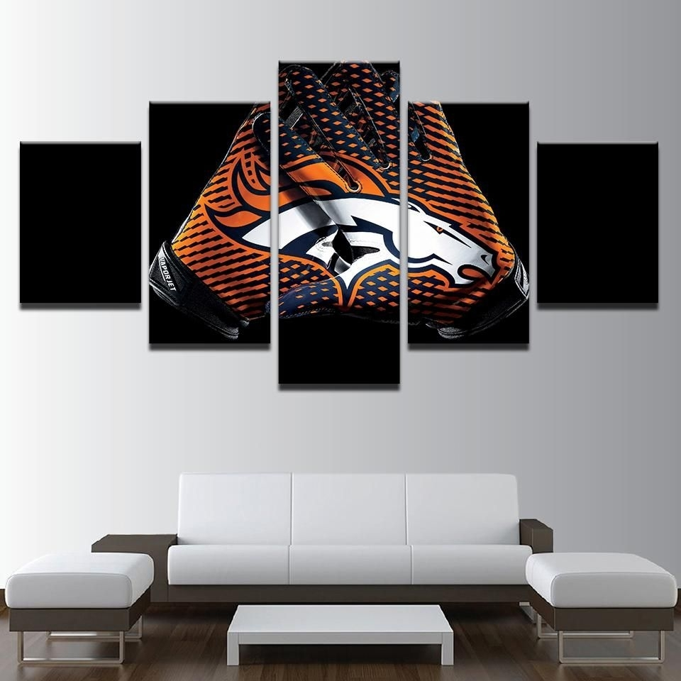 Denver Broncos Nfl Football 5 Panel Canvas Wall Art Home Decor with regard to Best and Newest Broncos Wall Art