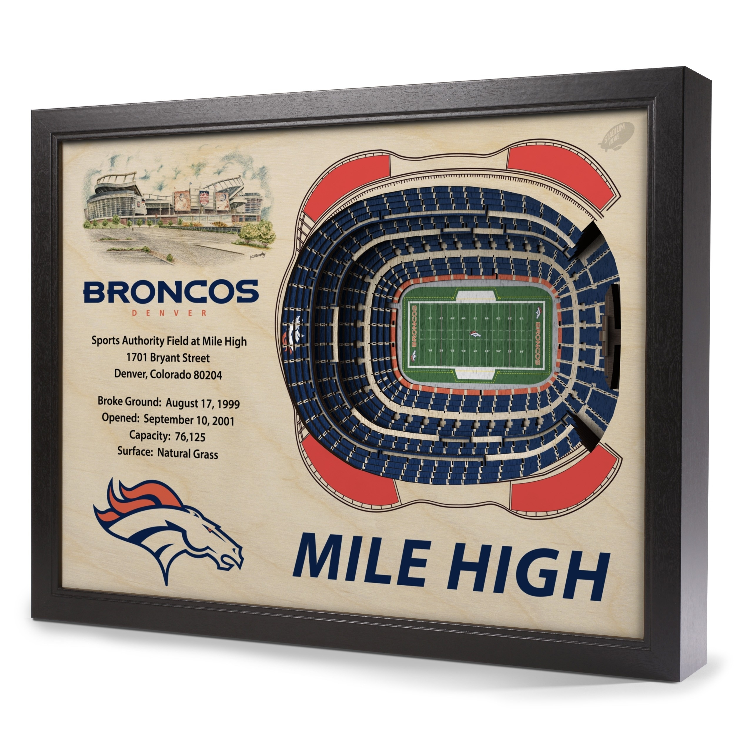 Denver Broncos Stadiumview Wall Art – Sports Authority Field At Mile Pertaining To Newest Broncos Wall Art (Gallery 15 of 20)