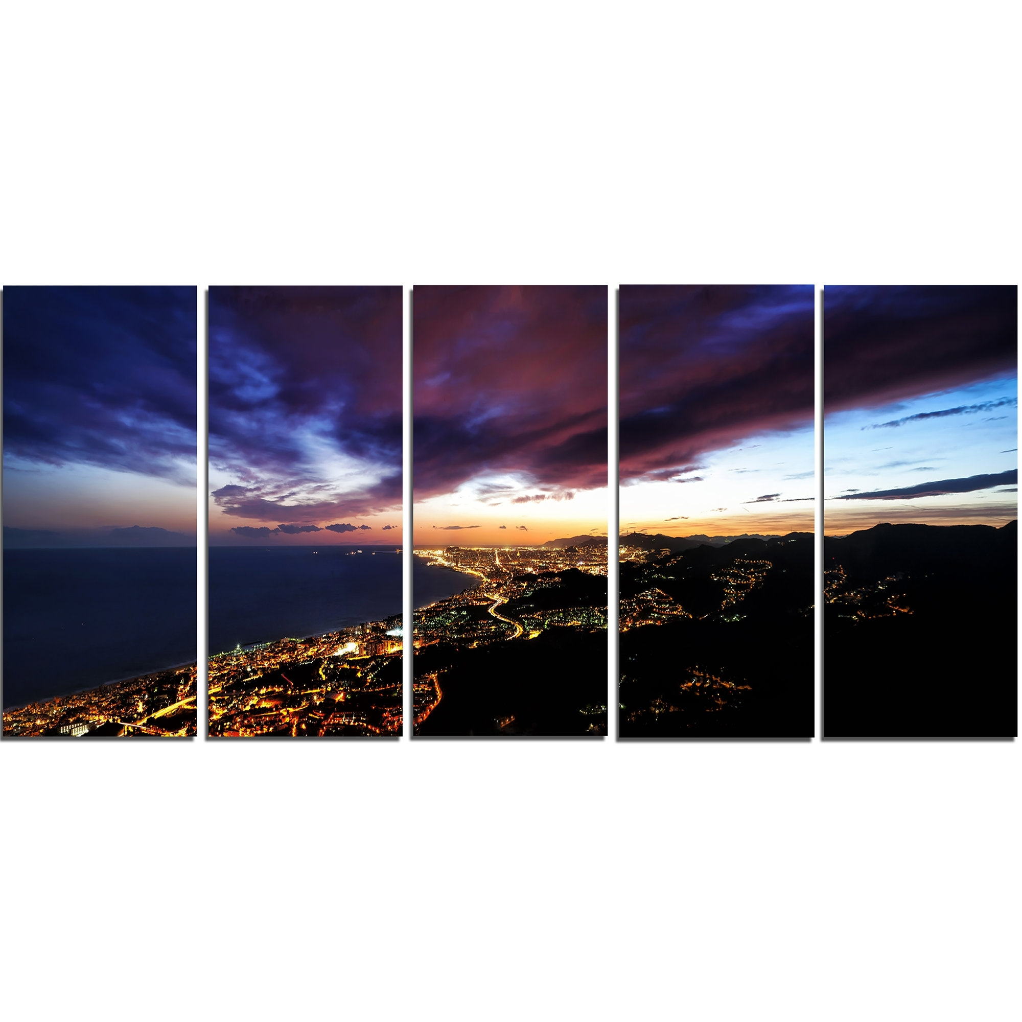 Designart Barcelona Skyline Panorama 5 Piece Wall Art On Wrapped Pertaining To Newest 5 Piece Wall Art (Gallery 10 of 20)