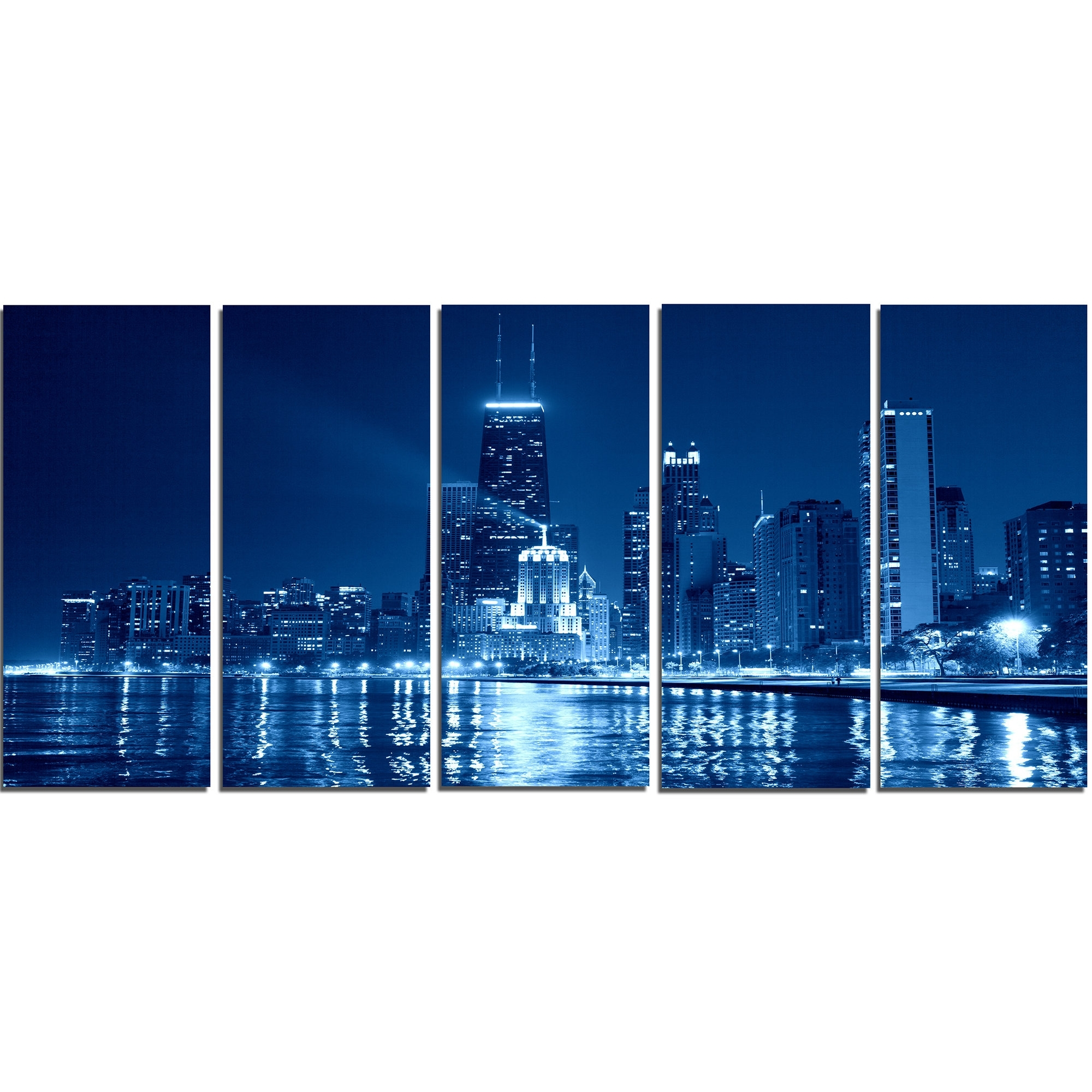 Designart Blue Chicago Skyline Night 5 Piece Wall Art On Wrapped Within 2018 Chicago Wall Art (View 8 of 15)