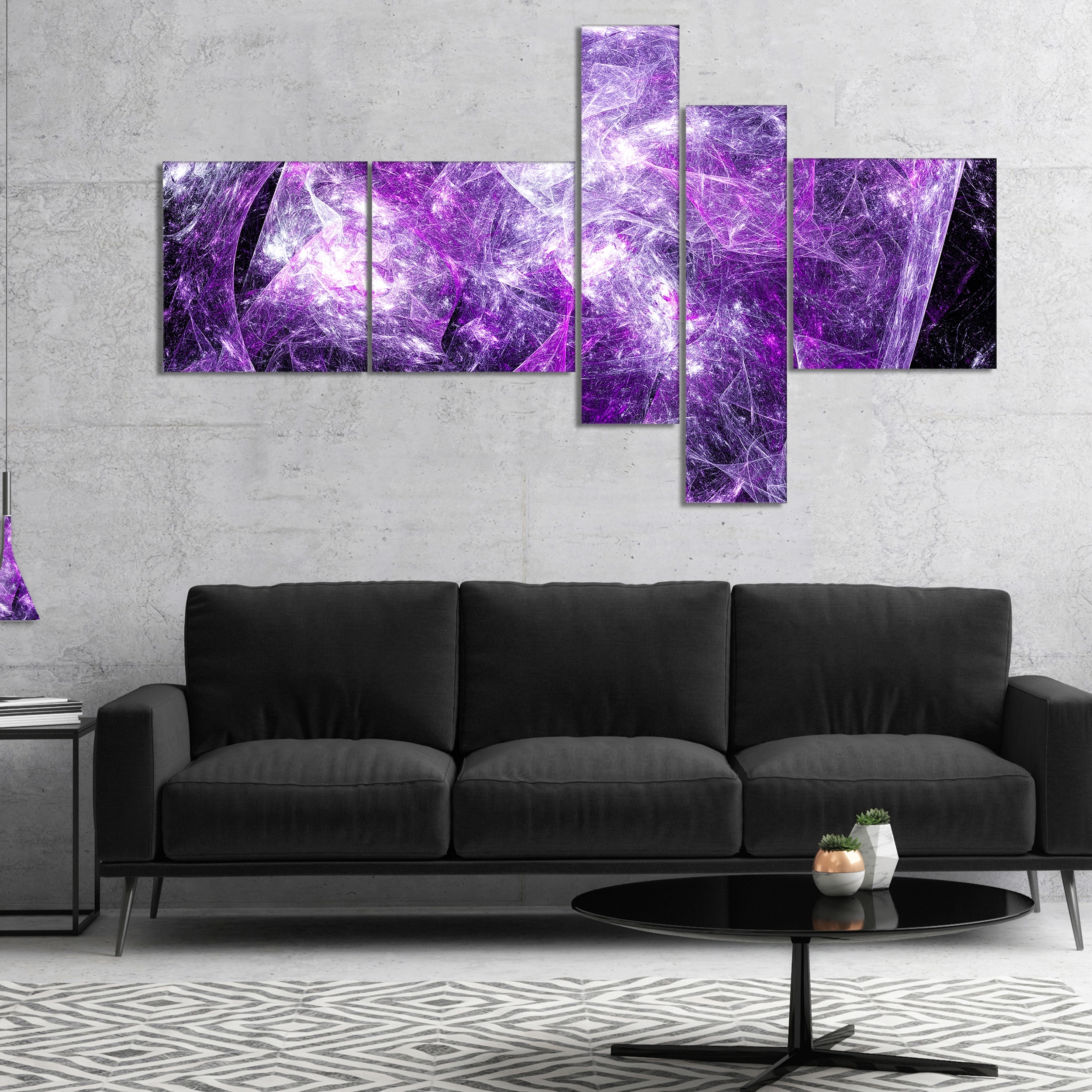 Designart 'mystic Purple Fractal' Abstract Wall Art Canvas – Free With Regard To Latest Purple And Grey Wall Art (View 3 of 20)