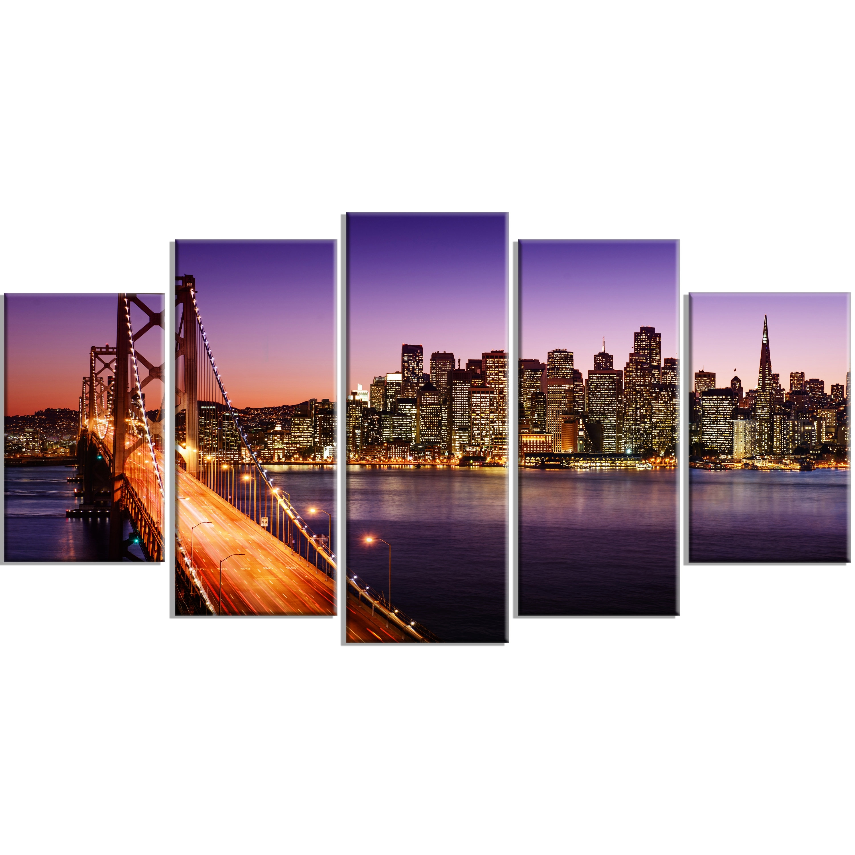 Designart 'san Francisco Skyline And Bay Bridge Sea Bridge' 5 Piece Inside 2017 San Francisco Wall Art (View 8 of 20)