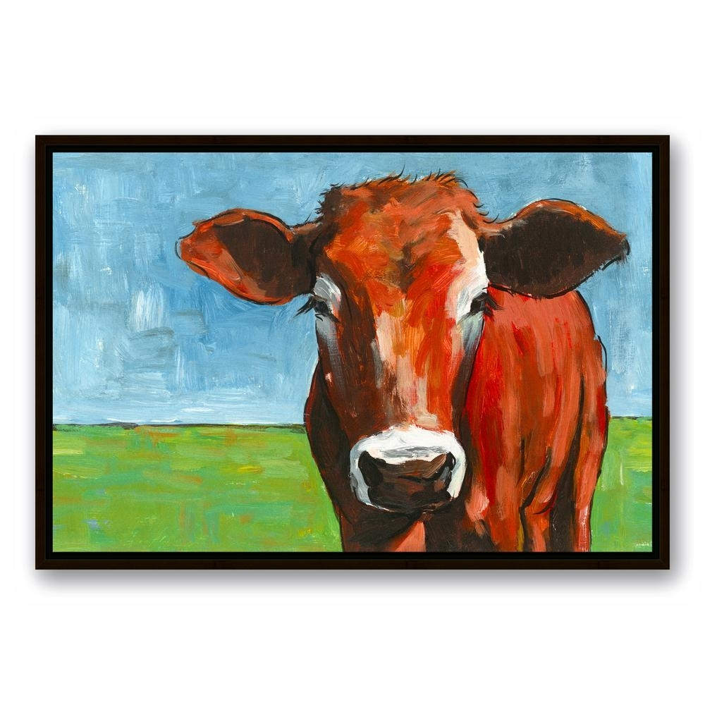 Designs Direct 20 In. X 30 In. ''big Brown Cow'' Printed Framed Within 2018 Cow Canvas Wall Art (Gallery 10 of 20)
