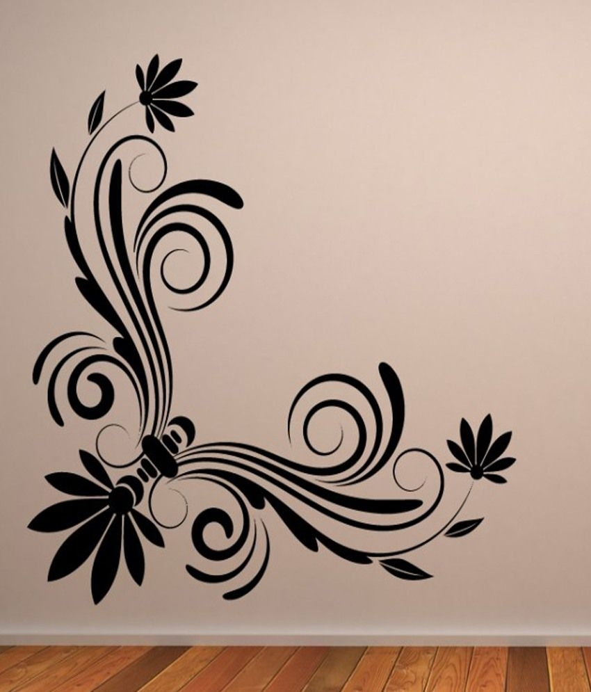 Destudio - Floral Corner Wall Art One - Wall Art Stickers And Wall intended for Most Recently Released Corner Wall Art