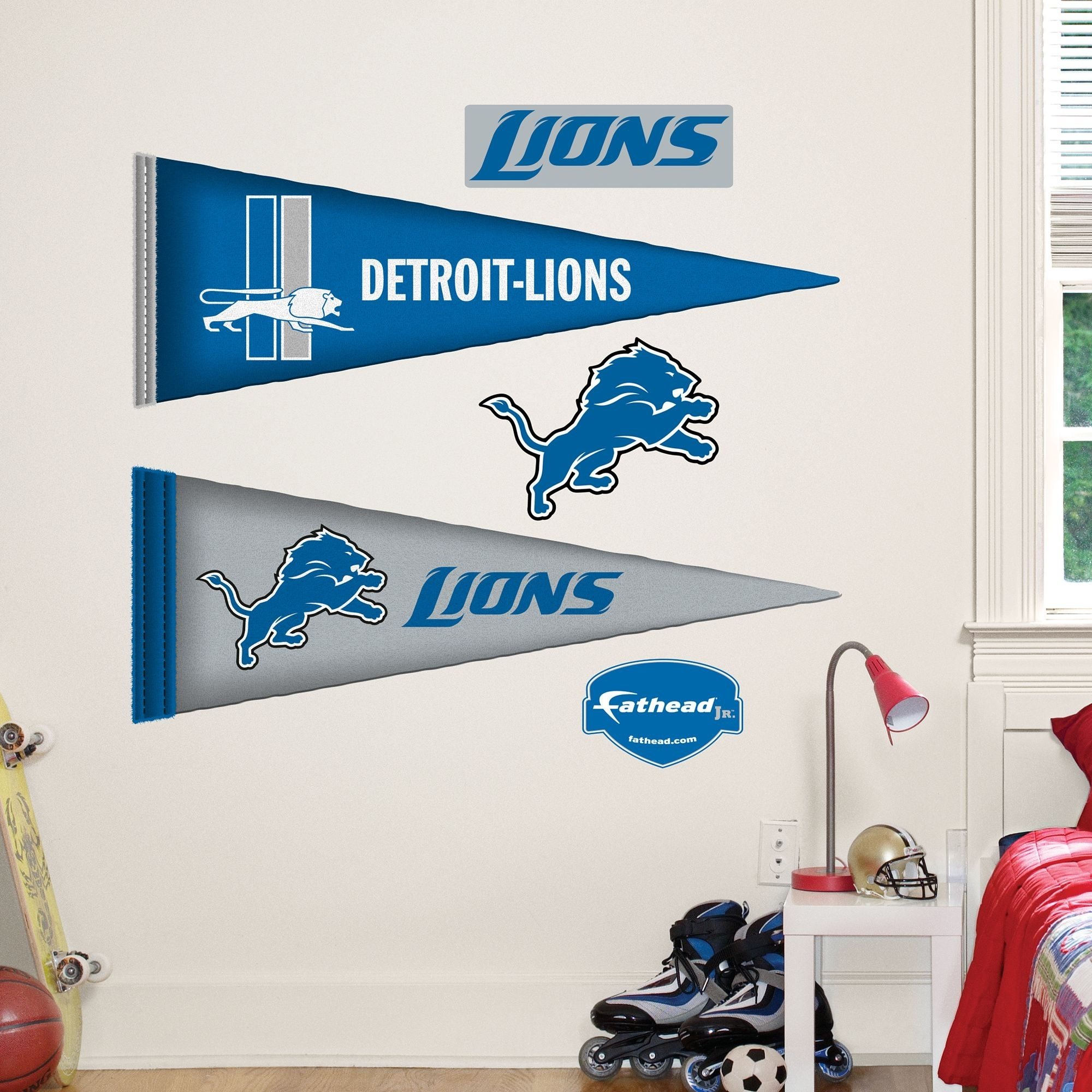 Detroit Lions Pennants – Fathead Jr. | Detroit Lions | Pinterest Pertaining To Most Popular Nfl Wall Art (Gallery 15 of 15)