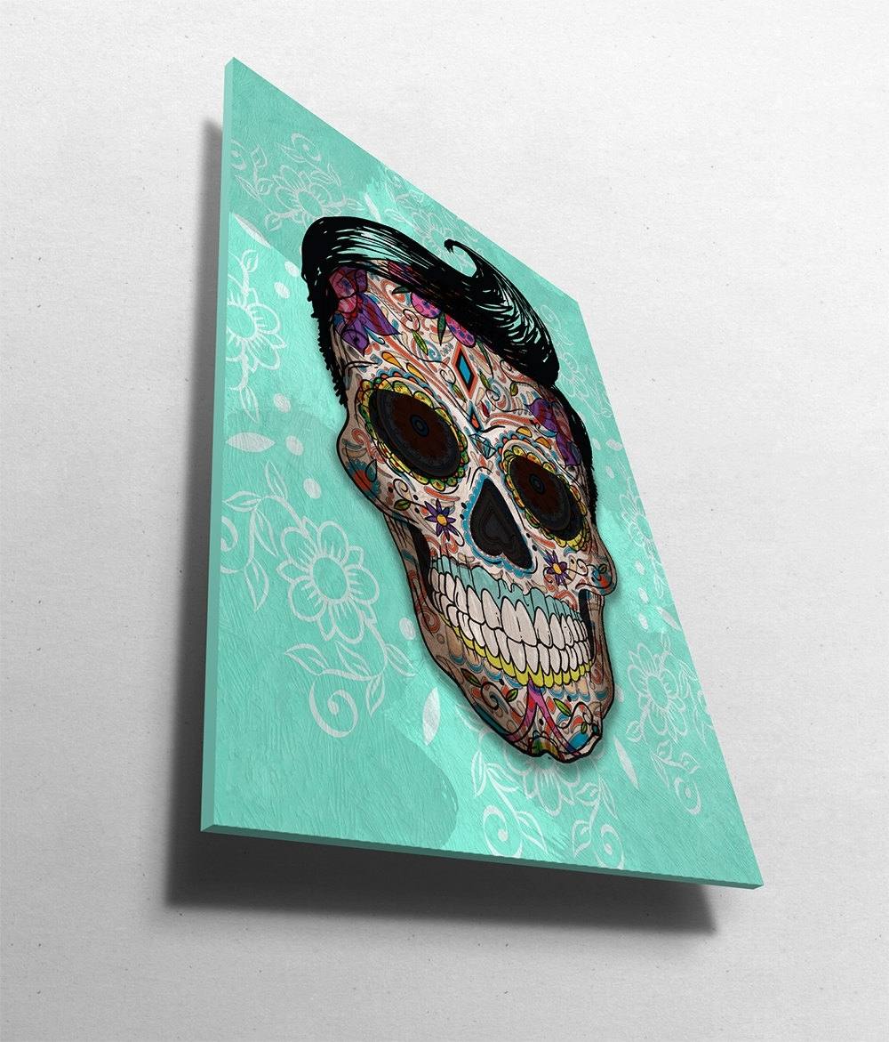 Dia De Los Muertos Mexican Retro Sugar Skull Illustration Art Print in Most Up-to-Date Paper Wall Art