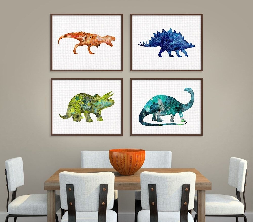 Dinosaur Art Print, Set Of 4 Prints, Dinosaur Poster, Dinosaur Wall for Newest Dinosaur Wall Art
