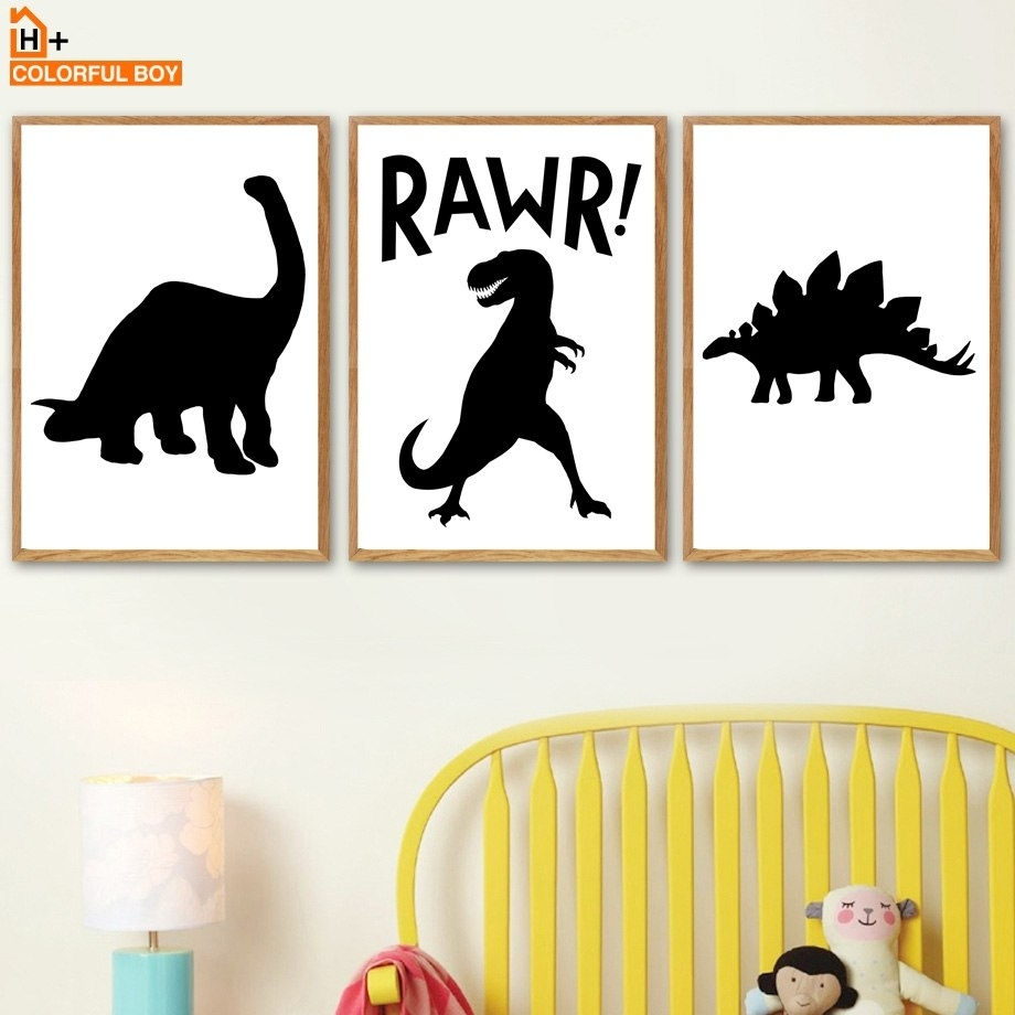 Dinosaur Crocodile Bat Wall Art Canvas Painting Nordic Posters And pertaining to Newest Dinosaur Wall Art