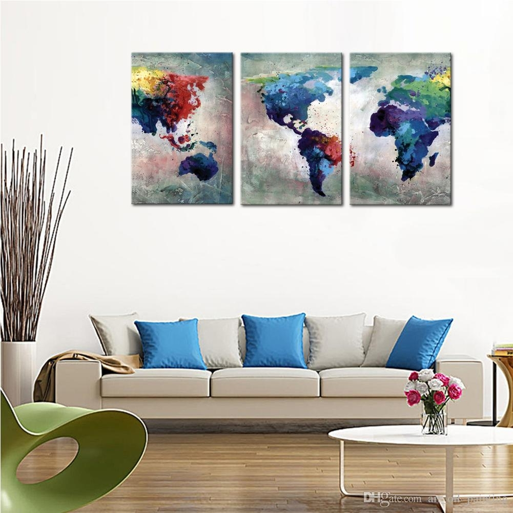 Discount 3 Panles Abstract Color Map Canvas Paintings Artwork World Pertaining To Current Discount Wall Art (View 4 of 20)