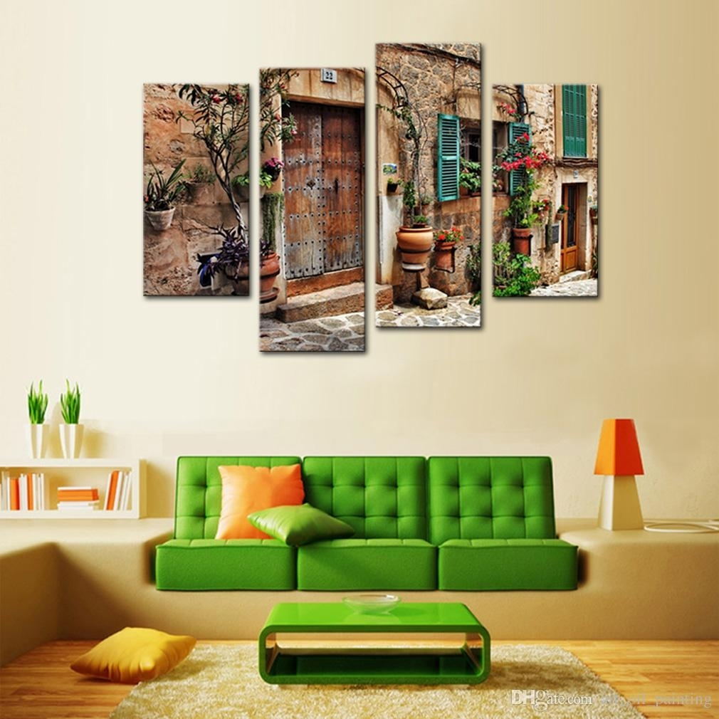 Discount 4 Panels Wall Art Spanish Old Town Street Canvas Painting Within Most Recently Released Discount Wall Art (View 5 of 20)