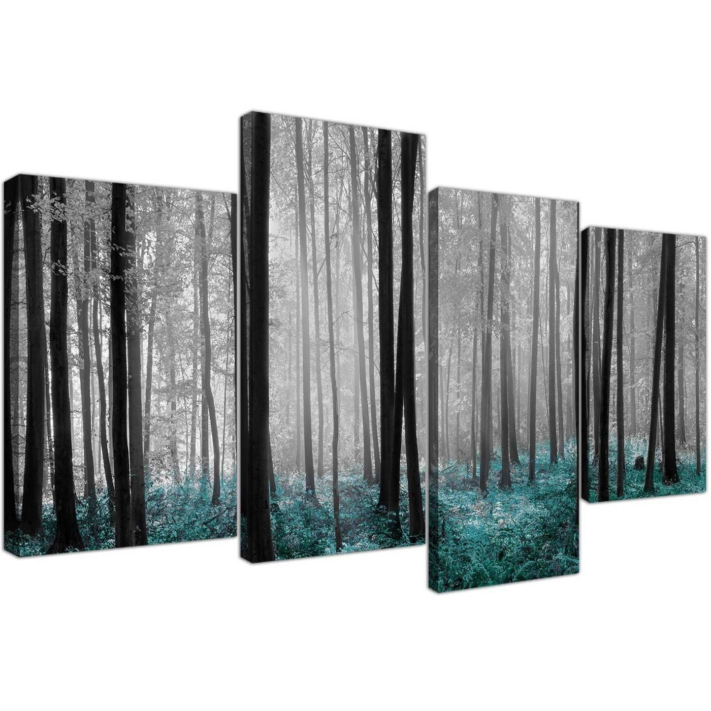 Discount Canvas Art Beautiful Black & White Teal Forest Trees Canvas With Regard To Current Discount Wall Art (View 6 of 20)