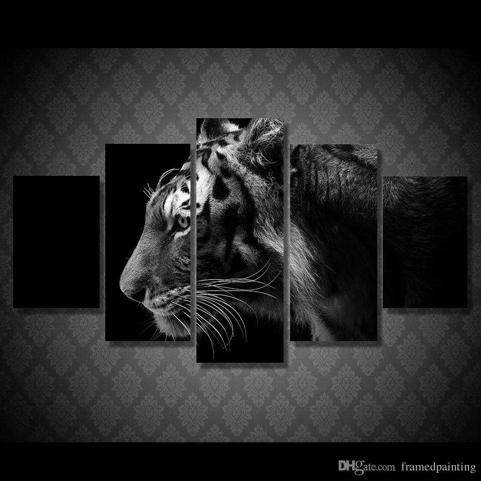 Discount Framed Hd Printed Black White Tiger Picture Wall Art Canvas In Most Recently Released Black And White Large Canvas Wall Art (View 9 of 20)