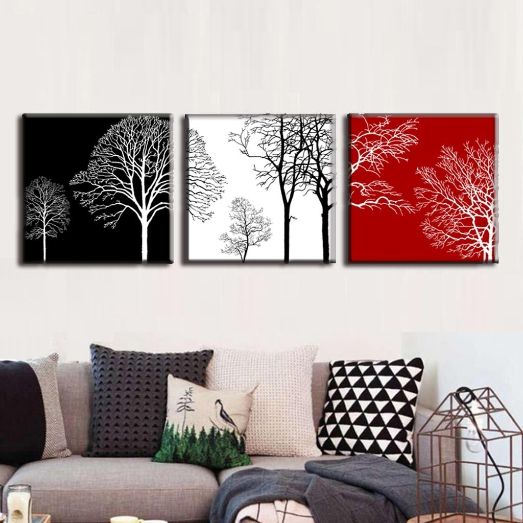 Discount Framed Painting 3 Pcs/set Modern Tress Wall Art Canvas Within Most Current Discount Wall Art (View 7 of 20)