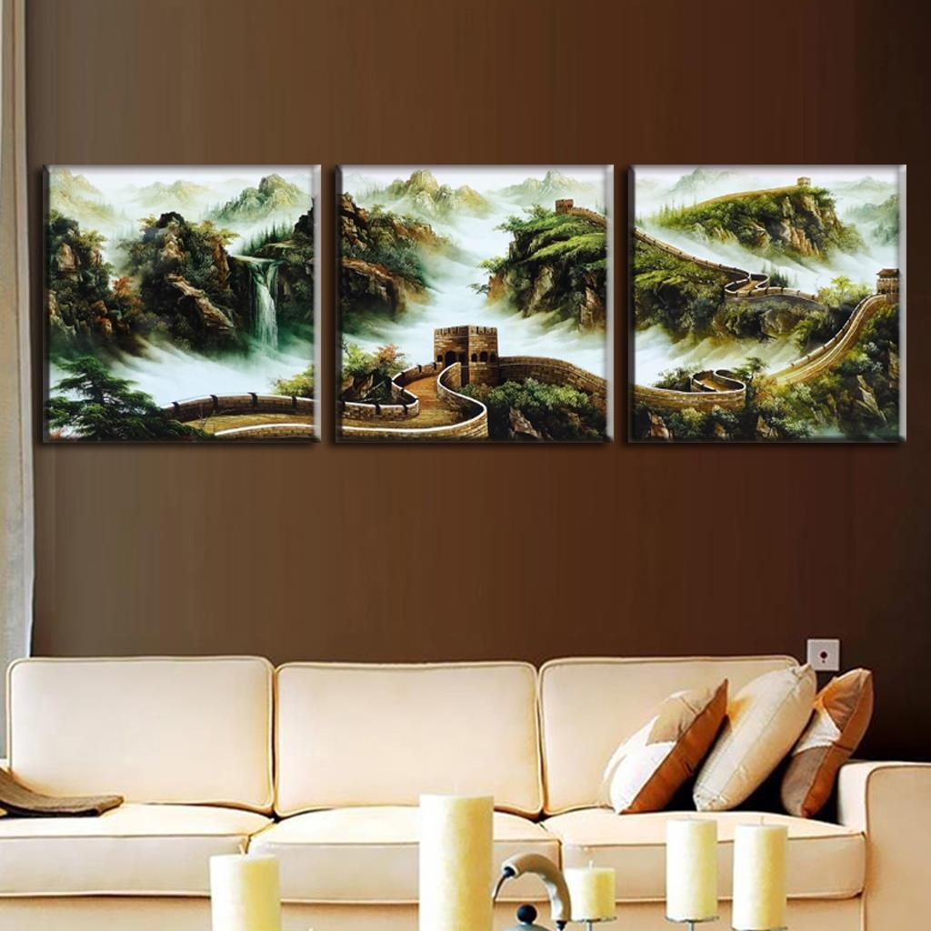 Discount Framed Painting 3 Pcs/set Traditional Chinese Landscape Pertaining To Most Up To Date Discount Wall Art (View 8 of 20)