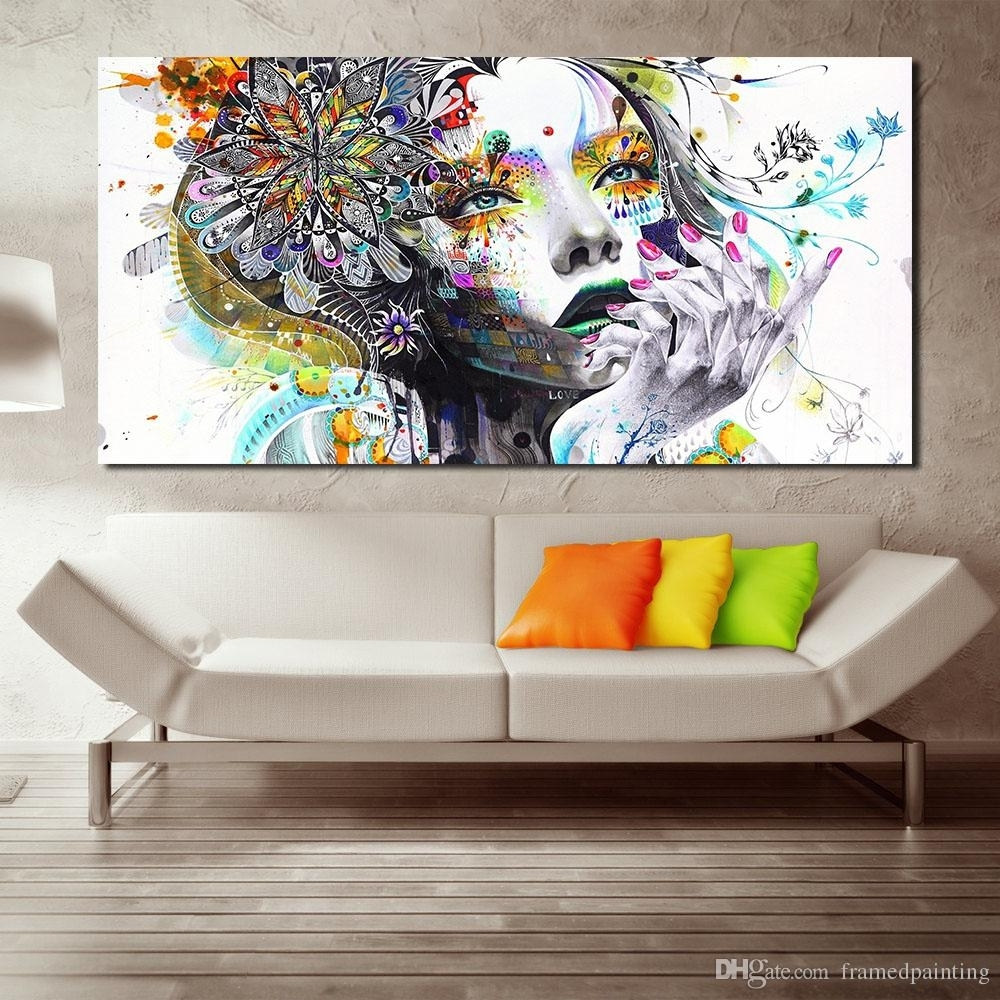 Discount Wall Art Girl With Flowers Oil Painting Poster And Prints With Regard To Most Current Discount Wall Art (View 12 of 20)