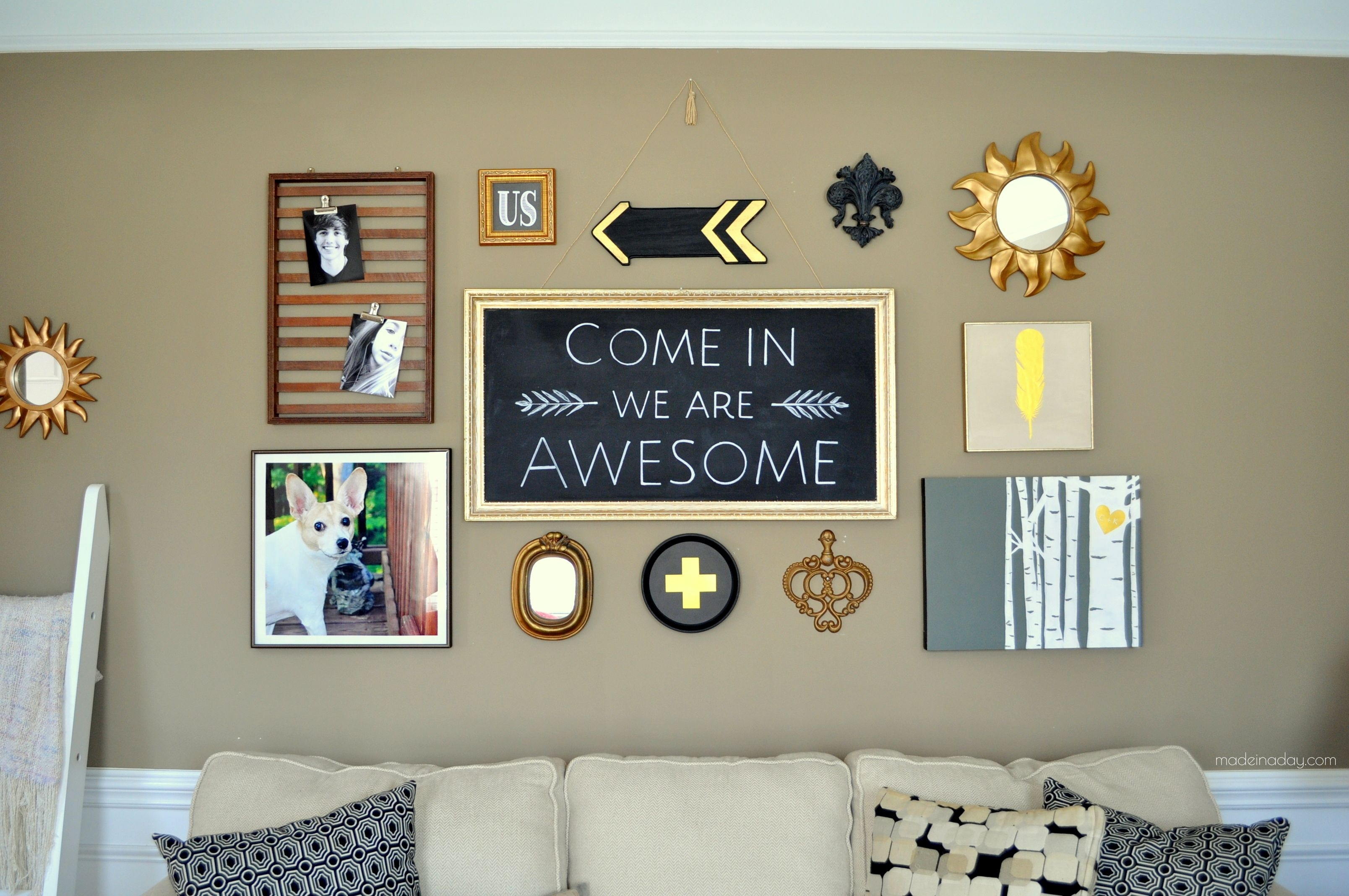 Diy Black Gold Gallery Wall, Eclectic Art Wall, Art Grouping Regarding Current Black And Gold Wall Art (View 11 of 20)
