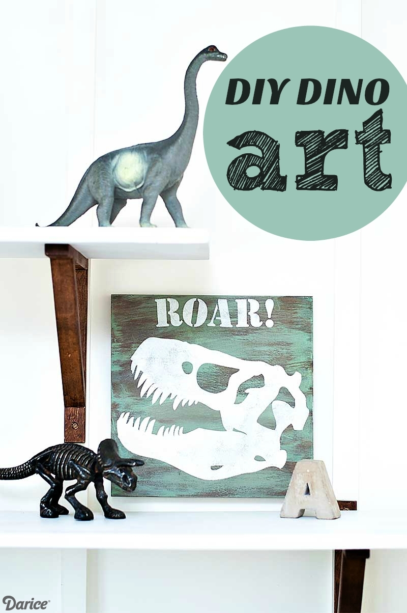 Diy Dino Art Tutorial For Kid's Room Decor – Darice Within 2018 Dinosaur Wall Art (View 11 of 20)