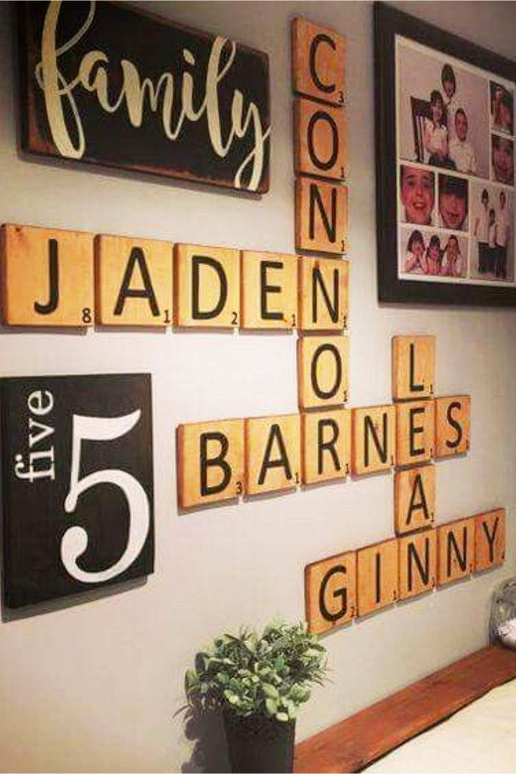 Diy Farmhouse Scrabble Wall Art Decorating Ideas | Scrabble Wall Art Throughout Current Scrabble Wall Art (Gallery 16 of 20)