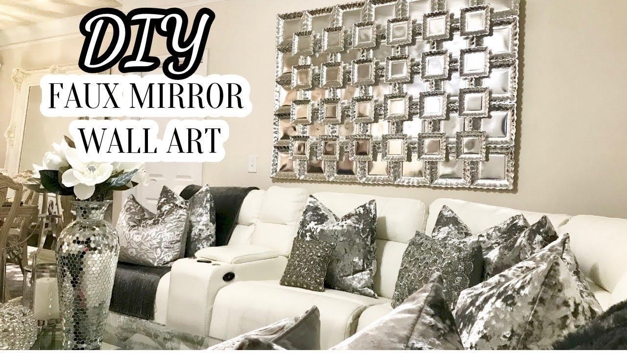 Diy Faux Mirror Wall Art | Home Decor Diy 2017 – Youtube Regarding Most Recent Mirror Wall Art (View 6 of 15)