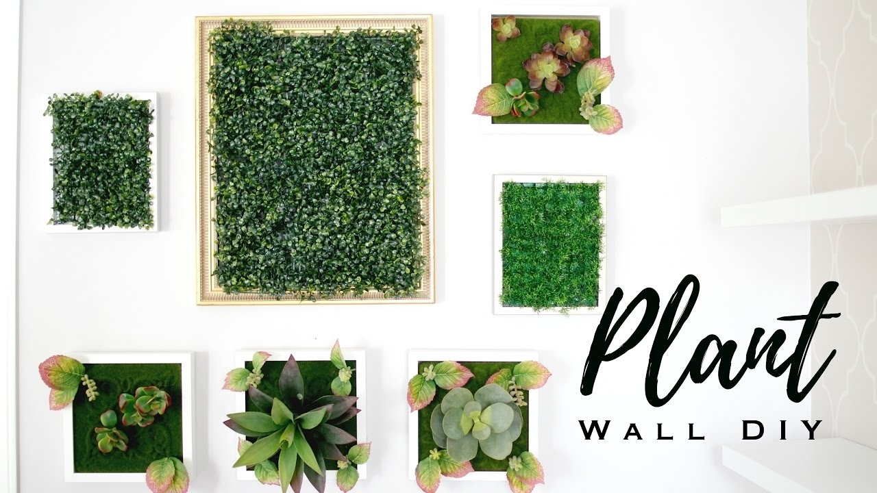 Diy Faux Plant Wall Art - Youtube with Latest Green Wall Art