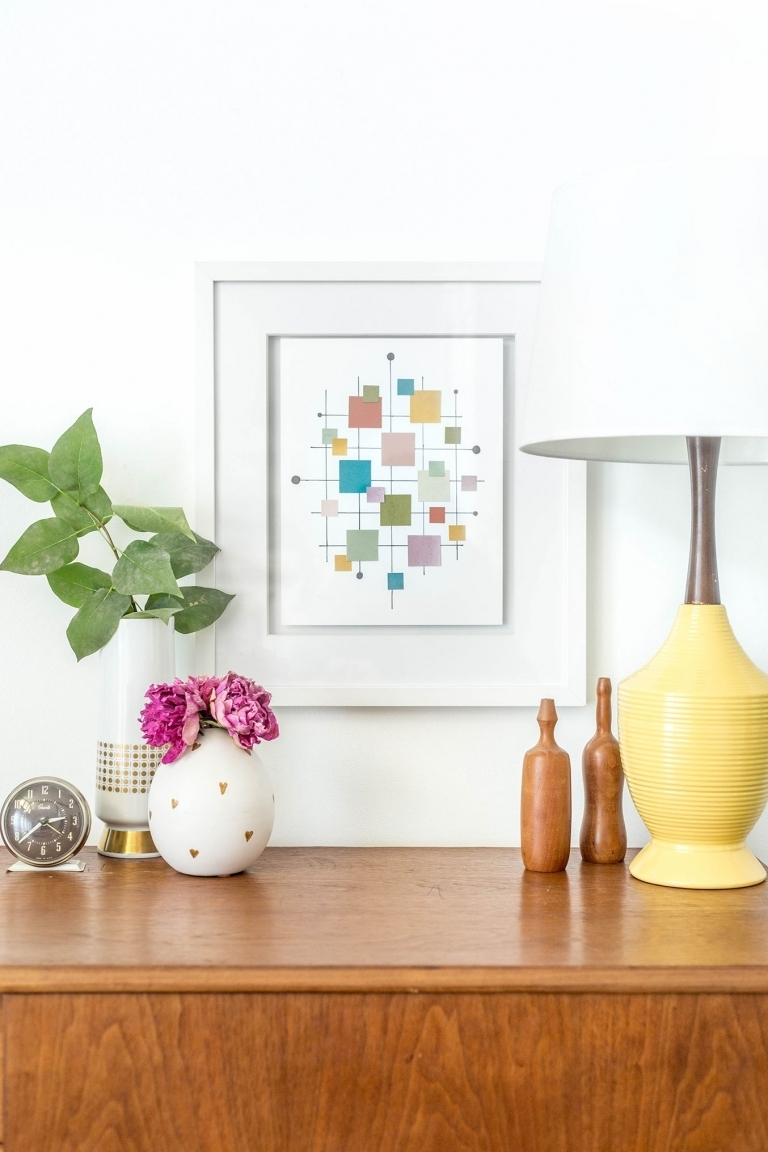 Diy Mid Century Inspired Paint Chip Wall Art Print – Dream Green Diy With 2017 Mid Century Wall Art (View 16 of 20)