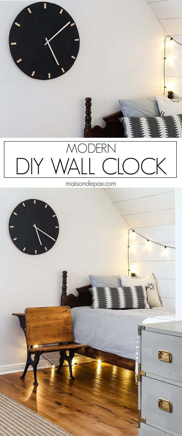 Diy Modern Black And Wood Wall Clock | Giant Wall Clock, Modern Wall With 2017 Giant Wall Art (View 5 of 20)