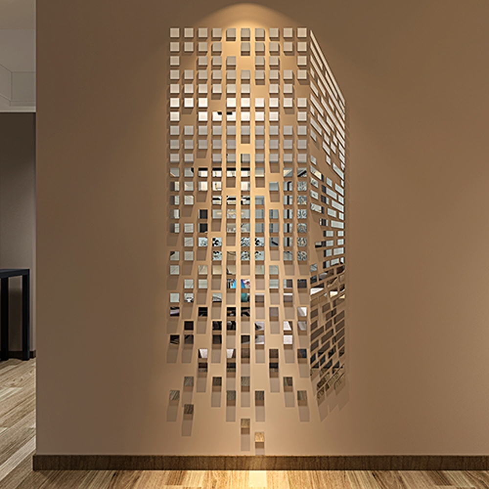 Diy Mosaic Little Squares 3d Acrylic Mirror Wall Sticker Living Room Throughout Most Popular Mirror Mosaic Wall Art (Gallery 11 of 20)