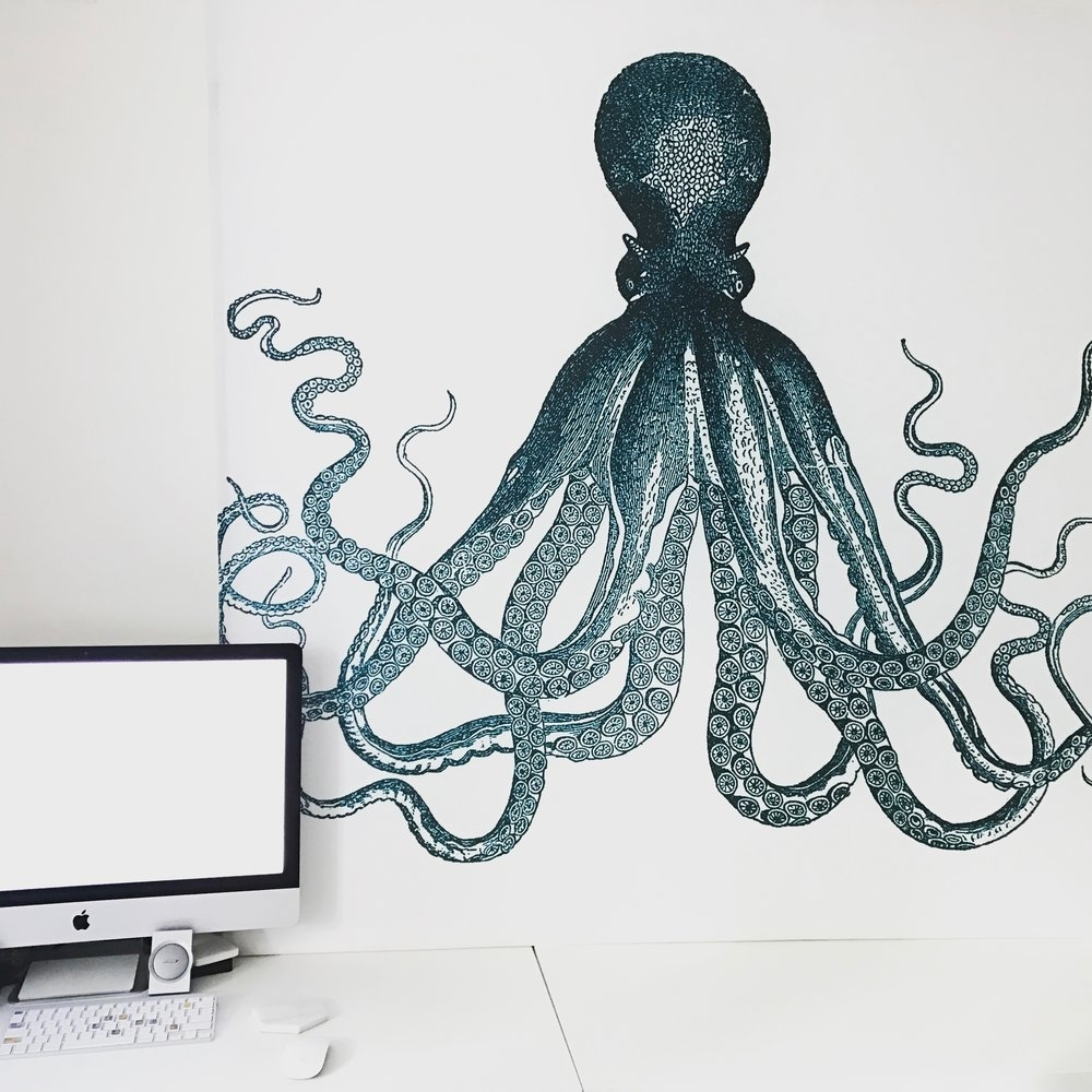 Diy Octopus Shower Curtain Wall Art — Tori Kraut Pertaining To Latest Octopus Wall Art (Gallery 9 of 20)
