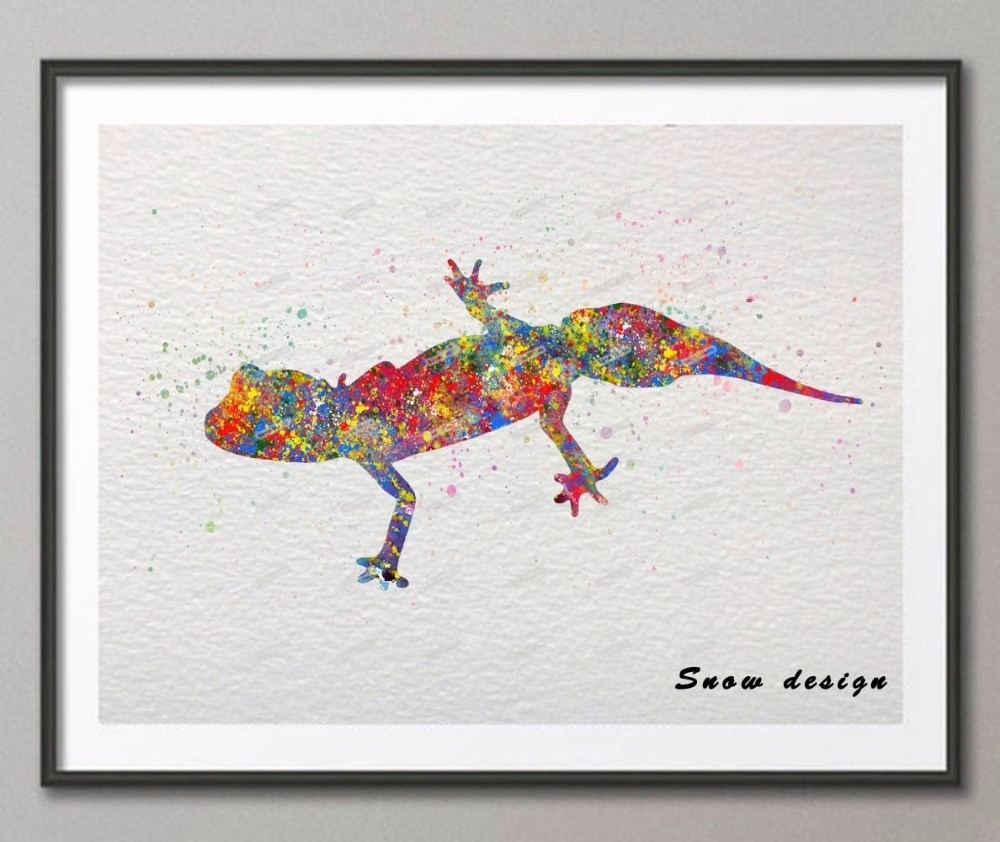 Diy Original Barking Gecko Watercolor Canvas Painting Wall Art pertaining to Most Current Gecko Canvas Wall Art