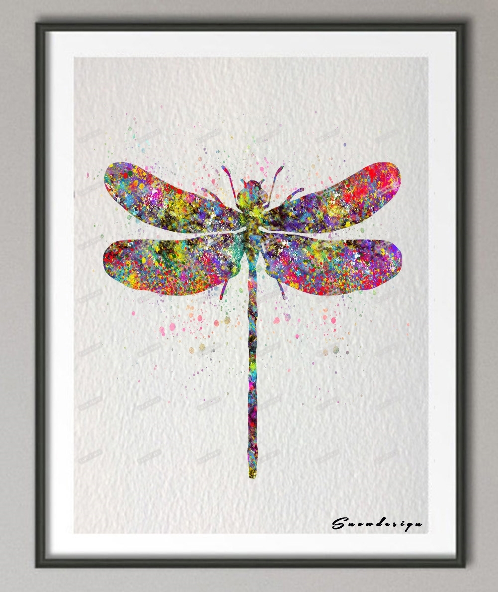 Diy Original Watercolor Dragonfly Canvas Painting Pop Wall Art In Most Recent Dragonfly Painting Wall Art (View 2 of 20)