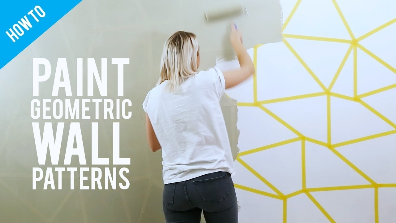 Diy Painted Geometric Wall Decor – Youtube With Regard To 2017 Geometric Wall Art (Gallery 9 of 20)