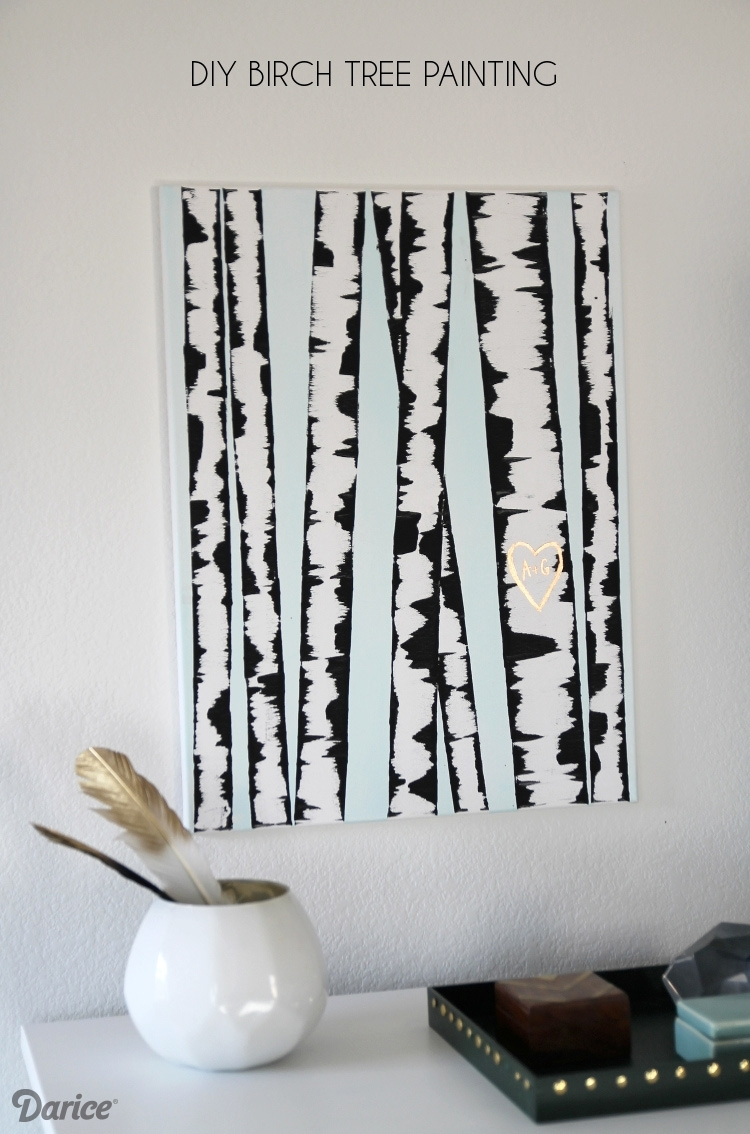 Diy Wall Art: Birch Tree Painting Tutorial - Darice with Most Up-to-Date Diy Wall Art