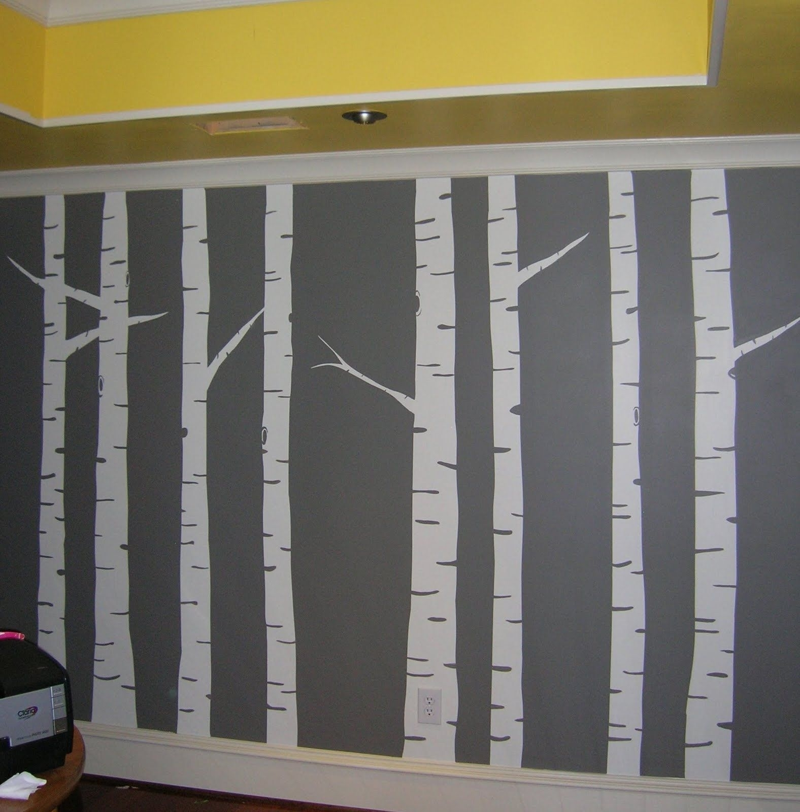 Diy Wall Mural | Diy Wall Painted Birch Tree Wall Art Mural Gray Regarding Current Birch Tree Wall Art (View 14 of 20)