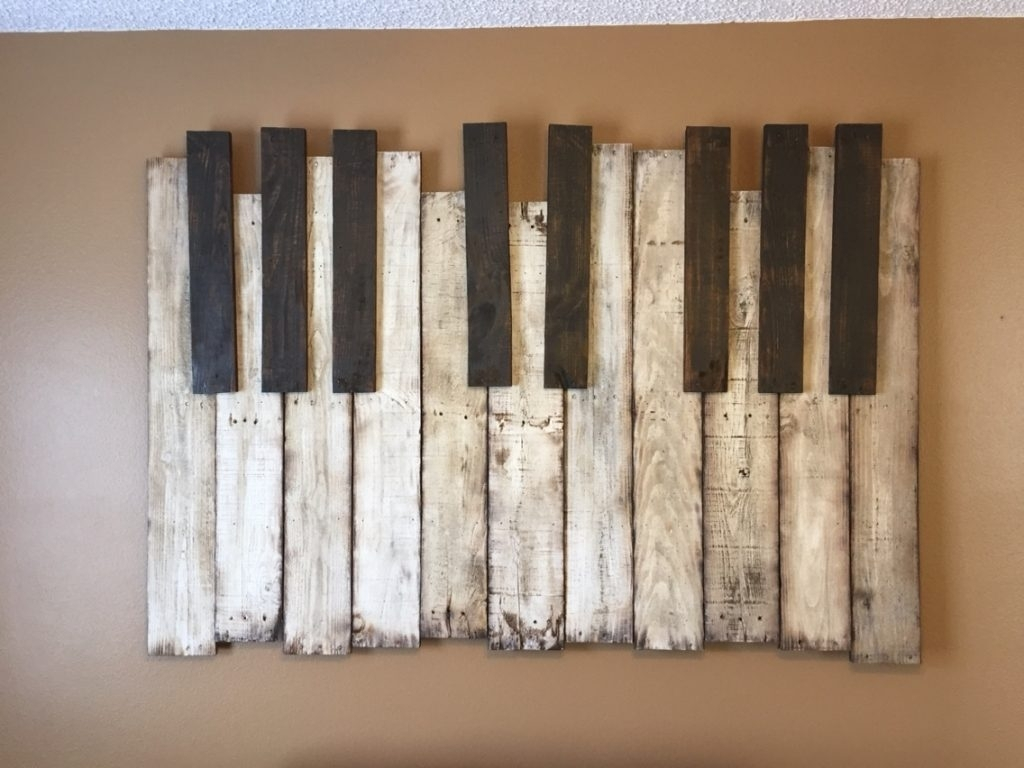 Diy Wooden Pallet Piano Wall Art The Handstand Pinterest Regarding Within Best And Newest Diy Wood Wall Art (View 13 of 20)