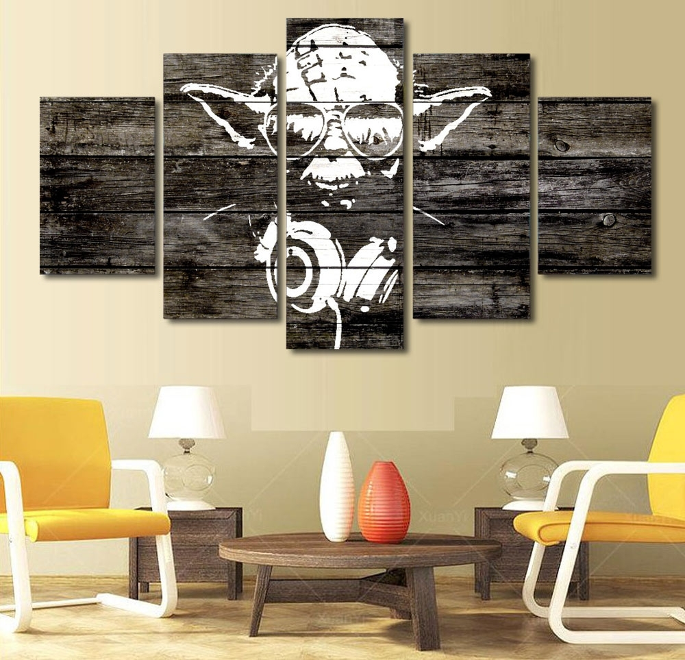 Dj Yoda Star Wars Music Master Hd Print 5 Panel Wall Art – Man Cave Kit Within Most Recently Released Star Wars Wall Art (View 15 of 15)