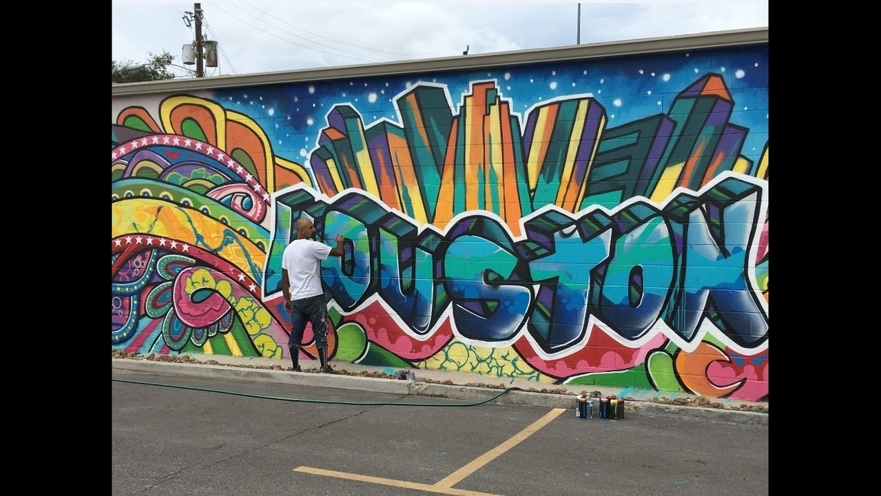 Downtown Urban Art Mural Vandalized During Festival With Newest Houston Wall Art (View 4 of 20)