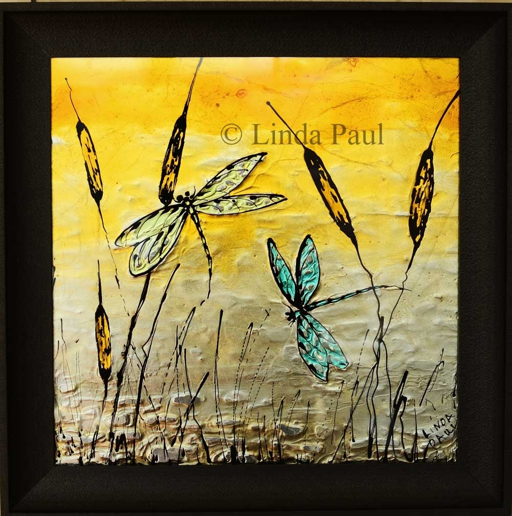 Dragonfly Art Glass Tile – Painted Pictures Of Dragonflies In 2017 Dragonfly Painting Wall Art (View 7 of 20)