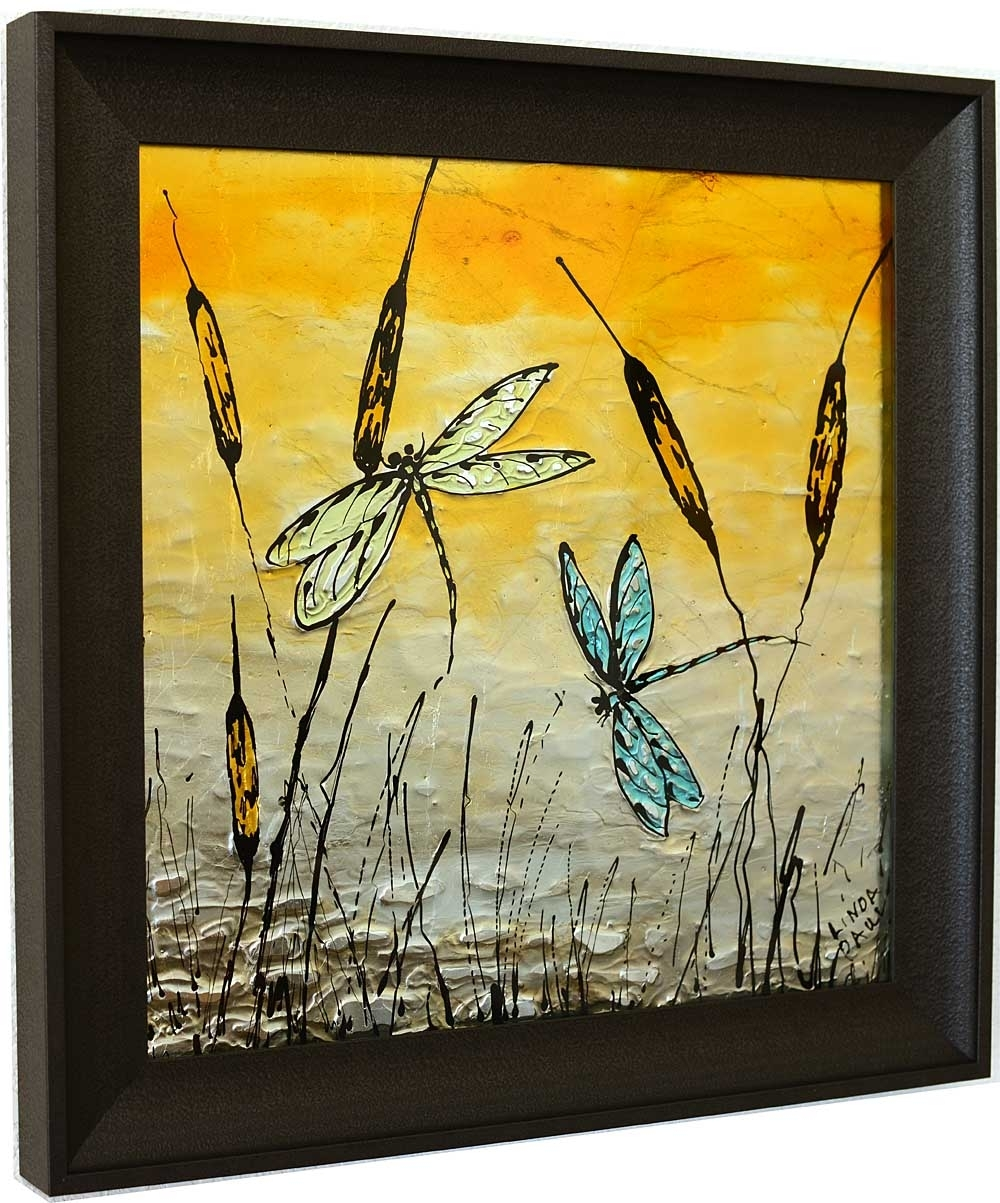 Dragonfly Art Glass Tile – Painted Pictures Of Dragonflies Inside 2018 Dragonfly Painting Wall Art (View 8 of 20)