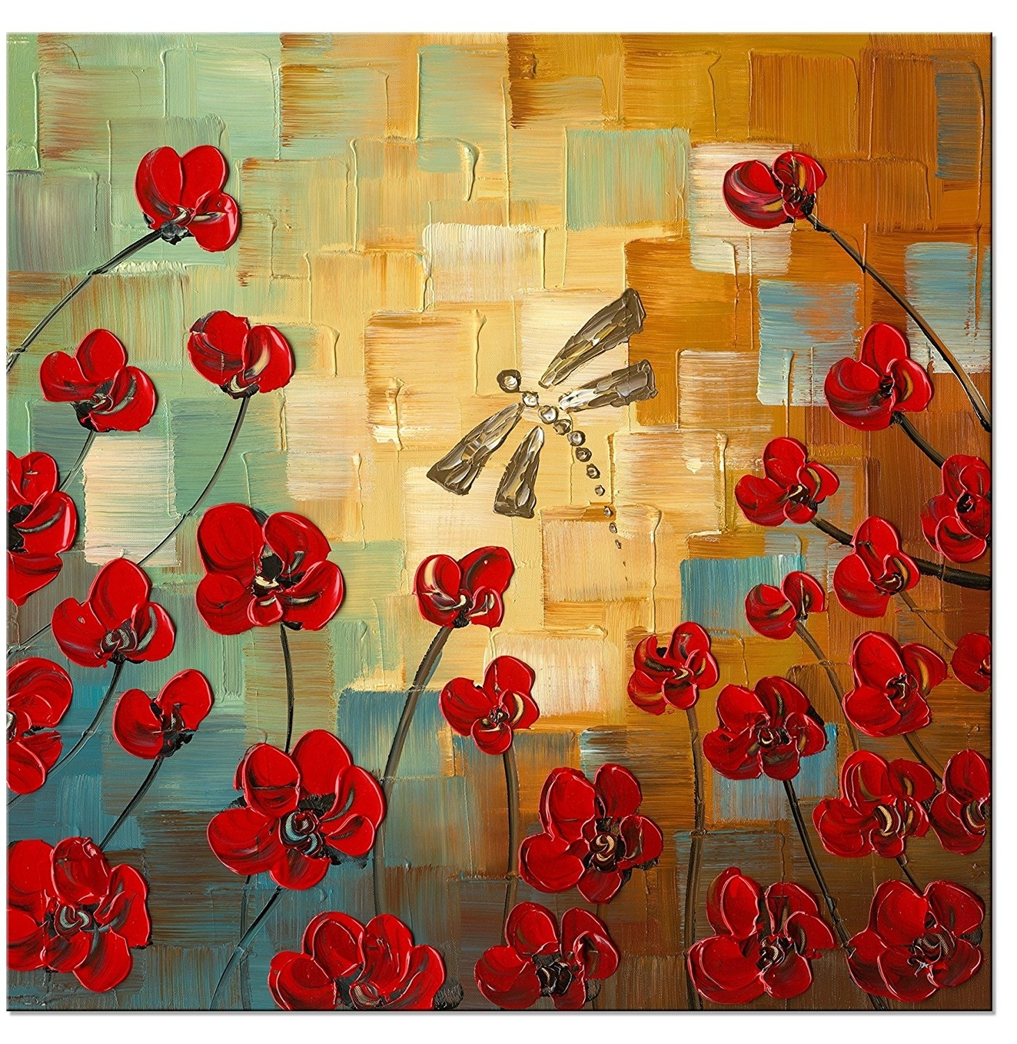 Dragonfly Modern Flowers Artwork 100% Hand Painted Stretched And For Current Floral Canvas Wall Art (View 7 of 20)