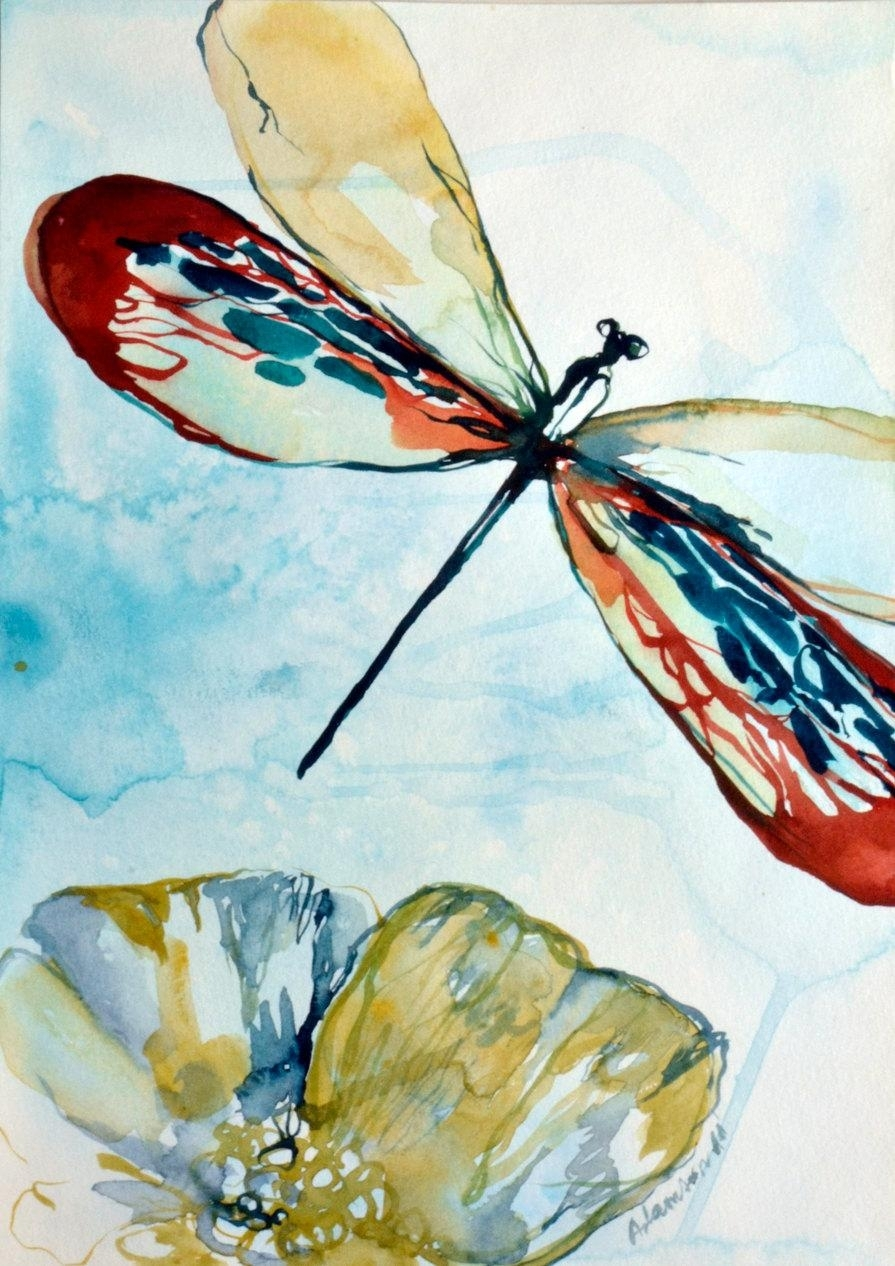 Dragonfly Watercolor Original Painting. Contemporary Water Colour For Newest Dragonfly Painting Wall Art (Gallery 12 of 20)