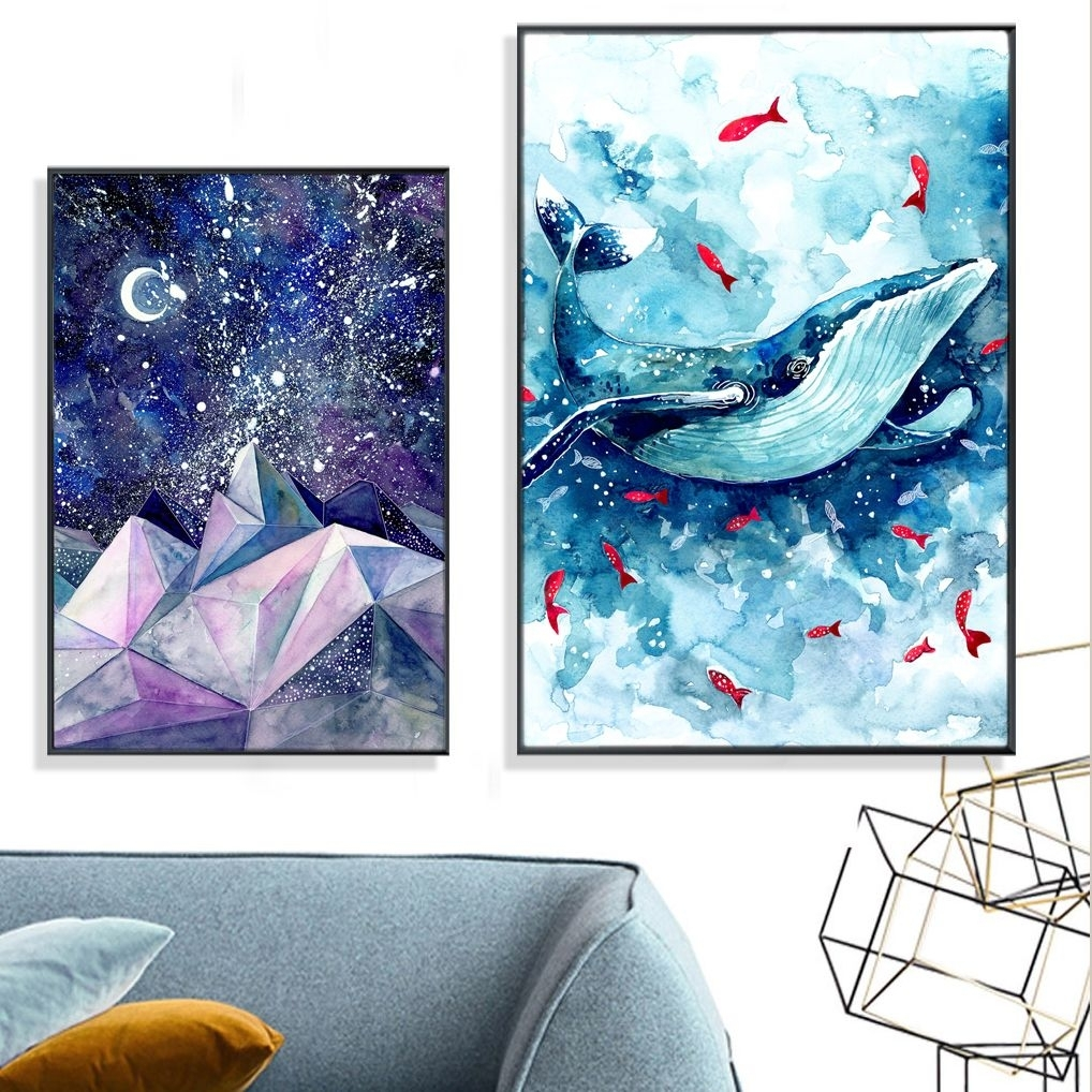 Dreaming Watercolor Whale & Mountain Canvas Print, Wall Art, Poster With Newest Whale Canvas Wall Art (View 9 of 20)